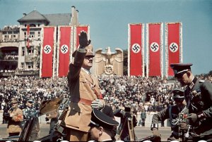 01 Adolf Hitler salutes troops of the Condor Legion who fought alongside Spanish Nationalists in the Spanish Civil War, during a rally upon their return to Germany, 1939